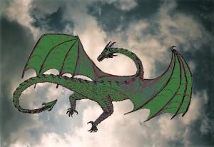 Wolkenbild mit Drachen